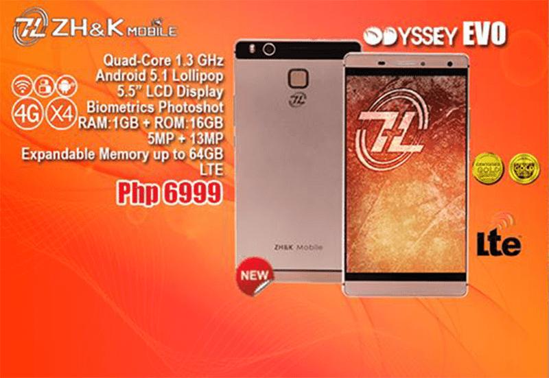 ZH&K Intros Odyssey Evo, A 64 Bit Quad Core Handset With LTE And Fingerprint Sensor For 6999 Pesos!