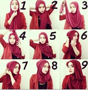Tutorial memakai jilbab pashmina sifon polos