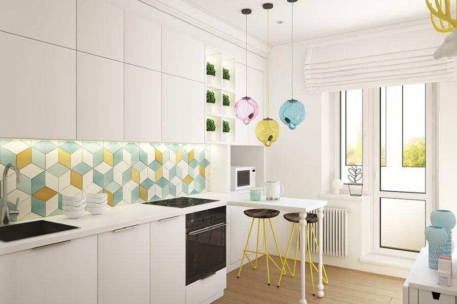 wystrój wnętrz, wnętrza, urządzanie mieszkania, dom, home decor, dekoracje, aranżacje, małe wnętrza, małe mieszkanie, styl nowoczesny, modern style, kolorowe dodatki, color decor, pastelowe kolory, salon, living room, kuchnia, kitchen, geometryczne wzory