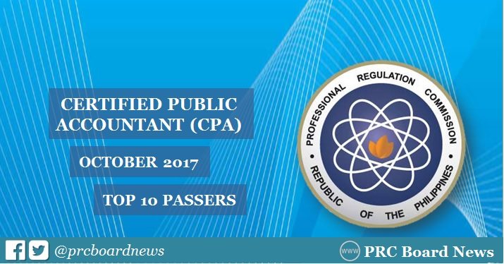 RESULTS: October 2017 CPA board exam top 10 passers