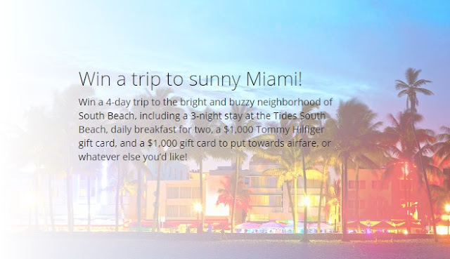 Tommy Hilfiger has teamed up with Jetsetter and they want you to enter once for the chance to win a trip to Miami's South Beach in Florida, plus a $1000 Tommy Hilfiger gift card and more!