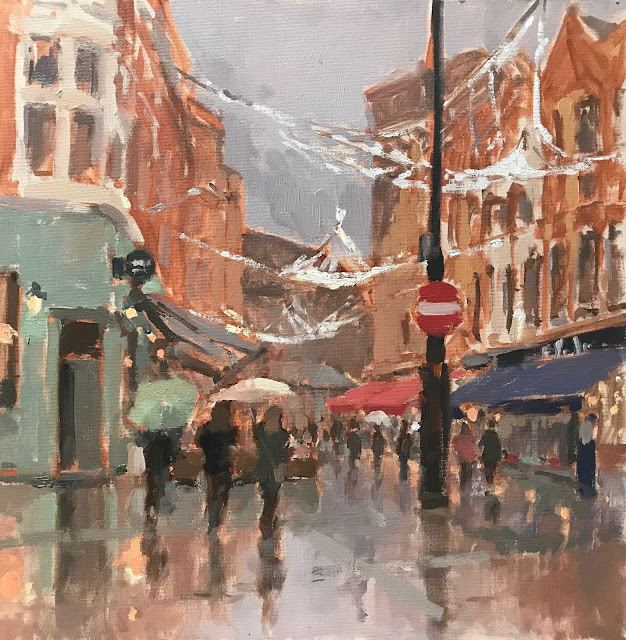 #422 'Christmas Lights, Irving St, London' 30x30cm