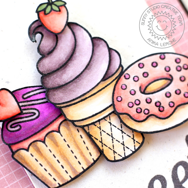 Sunny Studio Stamps: Sweet Shoppe & Fishtail Banners Ice Cream, Cupcake & Donut card by Anni Lerche.