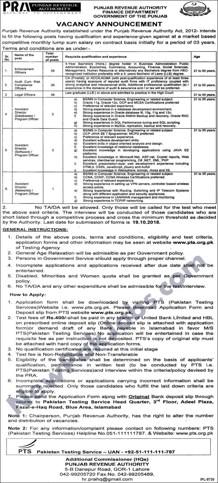 Jobs Through PTS in Punjab Revenue Authority Finance Department