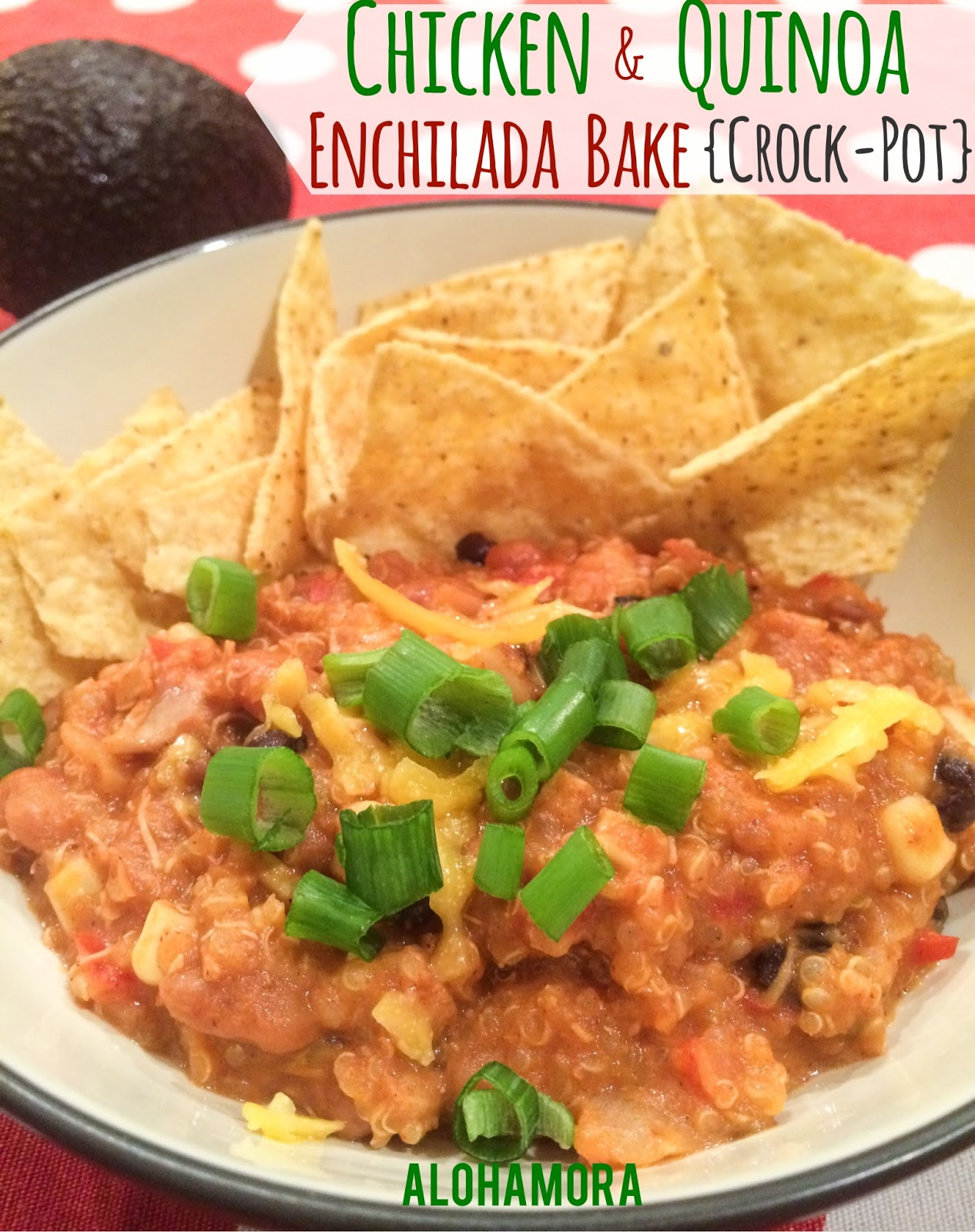 Chicken Quinoa Enchilada Bake easy to make dinner in your crock-pot/slow-cooker that's filling, flavorful, kid friendly, and delicious! Toss everything in your crock-pot in less than 30 minutes. Delicious! Alohamora Open a Book http://www.alohamoraopenabook.blogspot.com/