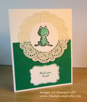 Thank-you card made with the frog image from StampinUP!'s Love You Lots stamp set
