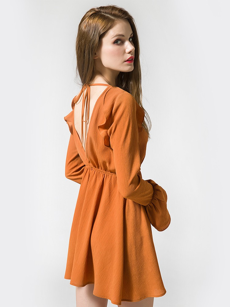 orange ruffles dress