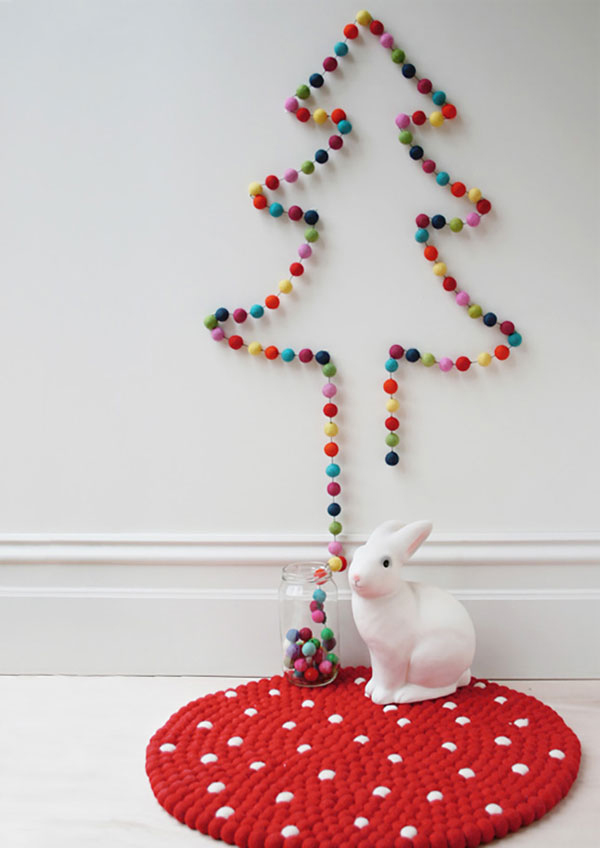 albero di natale alternativo diy pom pom