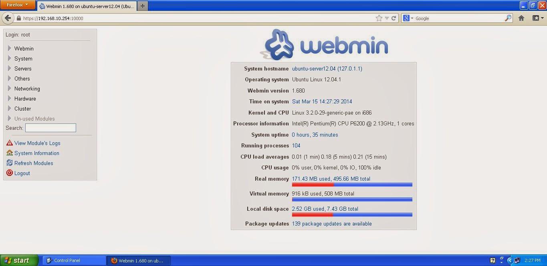 Cara Install Webmin di Ubuntu Server 12.04
