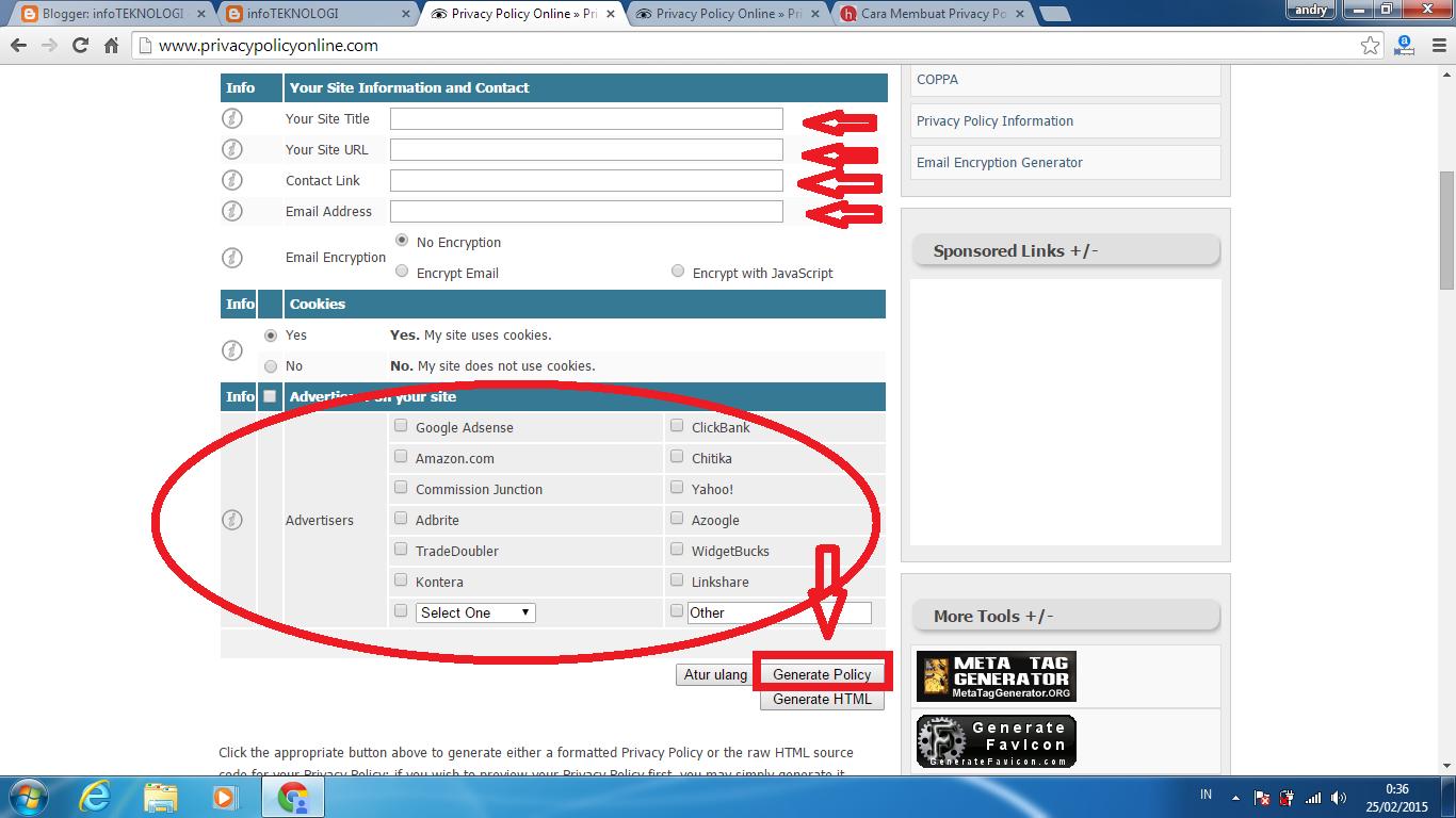 CARA MUDAH MEMBUAT PRIVACY POLICY ONLINE DI BLOGGER www.andrisamaran.com