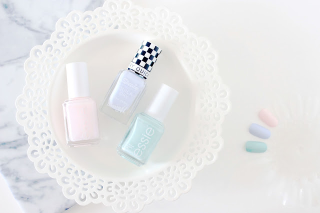 Essie Fiji, Essie Mint Candy Apple, Barry M Eat My Dust