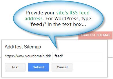 Sitemap address box in Google webmaster tools