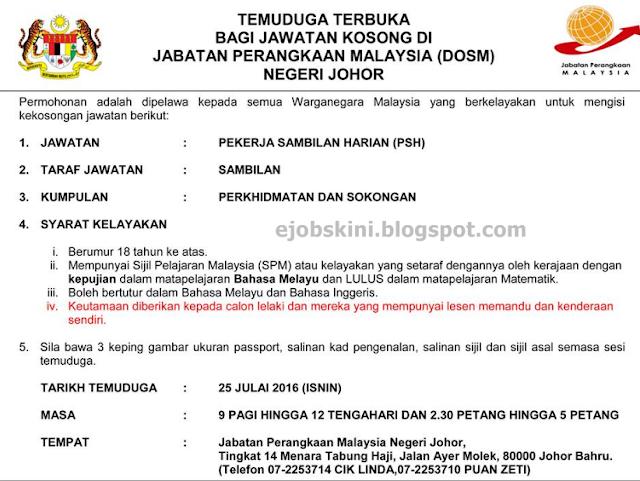 jawatan kosong di jabatan perangkaan malaysia julai 2016