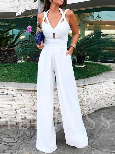 Office Lady Strap Plain Full Length Straight Women's Jumpsuit