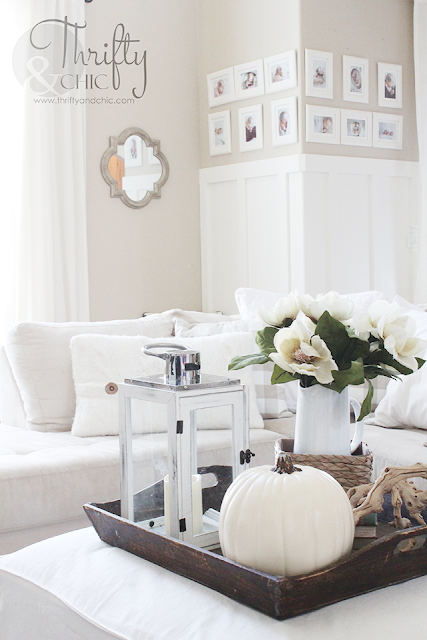 Neutral Fall decorating ideas and decor. Neutral and white cottage or farmhouse living room decor. Two story great room decorating idea