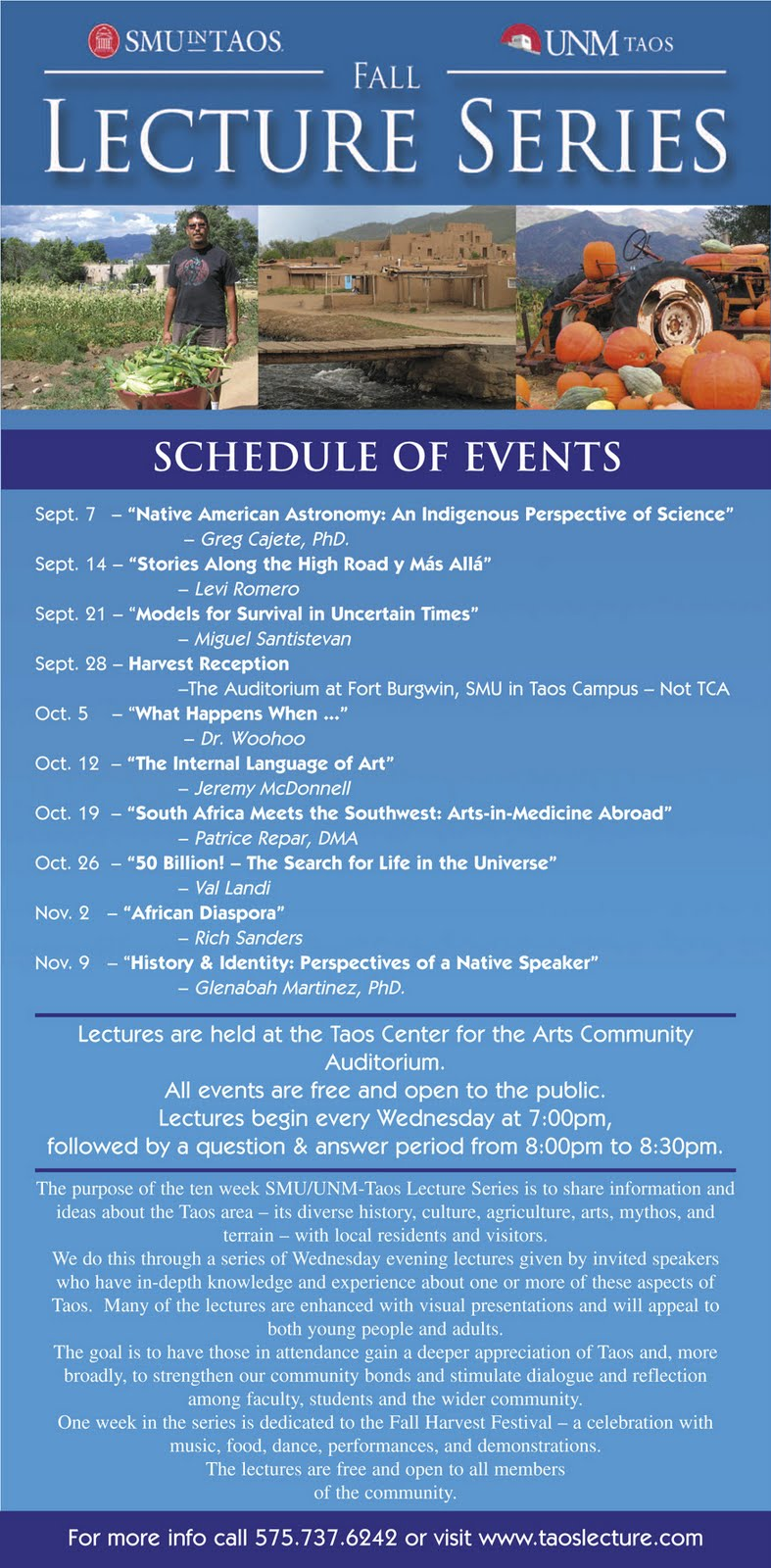 UNM Taos News & Information: 3rd annual Fall lecture Series
