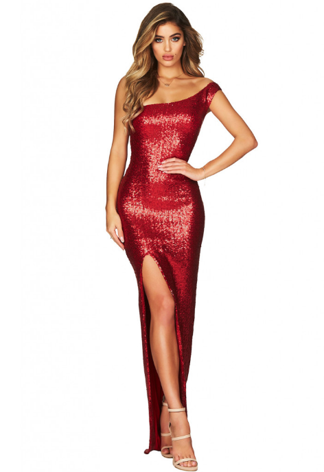 Rochie lunga rosie glam pe un umar si crapatura pe picior