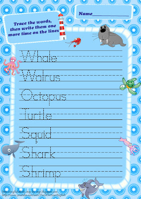 sea animals trace words writing worksheet for learning english