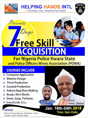 Helping Hands international presents 7days Free Skill Acquisition for Nigeria Police Kwara State and Police Officers Wives Association (POWA).