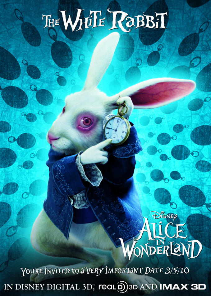White rabbit Alice in Wonderland 2010 animatedfilmreviews.blogspot.com
