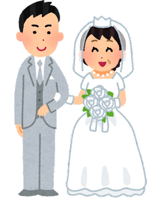 年の差婚のイラスト(年下の男性と年上の女性)