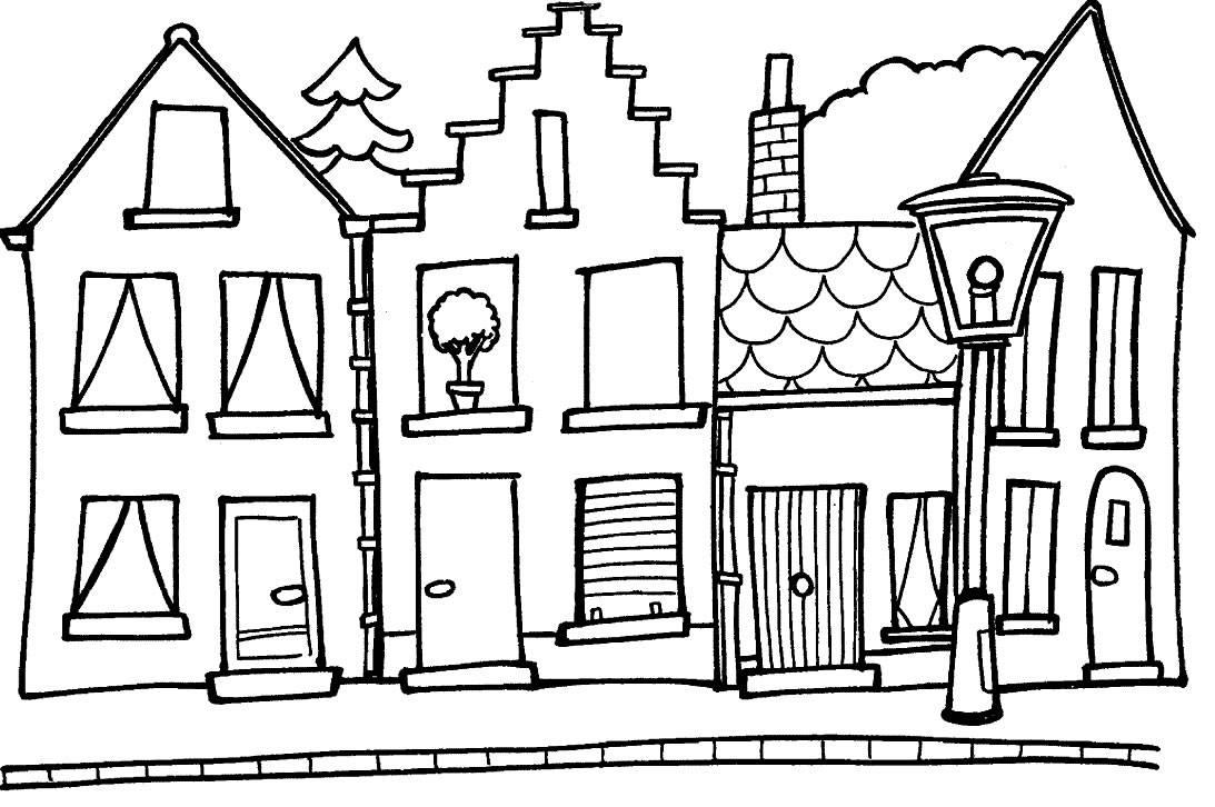 Dessins Et Coloriages Page De Coloriage Grand Format A Imprimer Trois Maisons Dans Une Ville