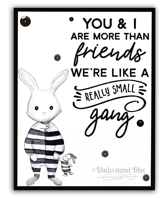 Chain Gang No-Line Watercolor Bunny by Understand Blue