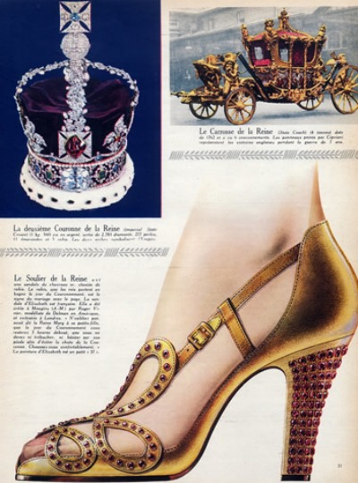 Delman ad for replica of Queen Elizabeth's coronation shoes
