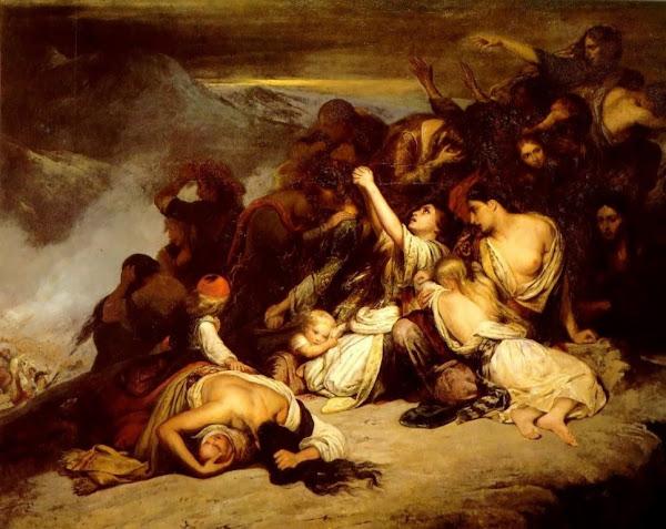 Battle by Ary Scheffer, Macabre Paintings, Horror Paintings, Freak Art, Freak Paintings, Horror Picture, Terror Pictures