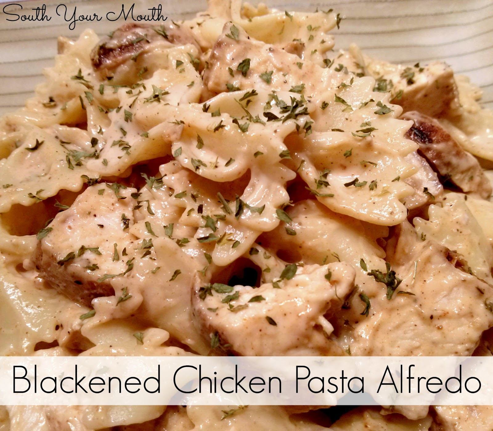 South Your Mouth Blackened Chicken Pasta Alfredo