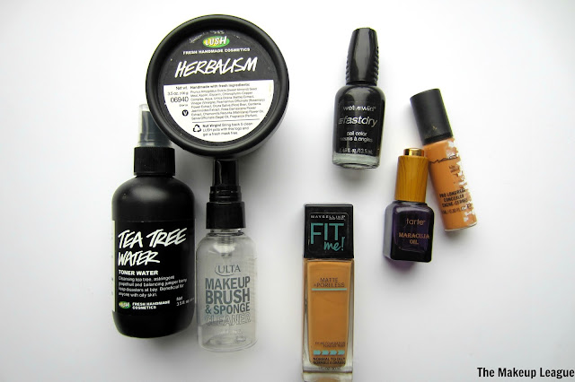 product empties lush skincare wnw nail polish mac concealer maybelline matte + poreless foundation ulta tarte maracuja oil