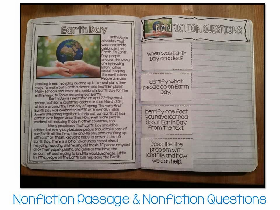 April Fiction and Nonfiction Paired Texts interactive notebook- all about Earth Day (with 4 other topics, too)
