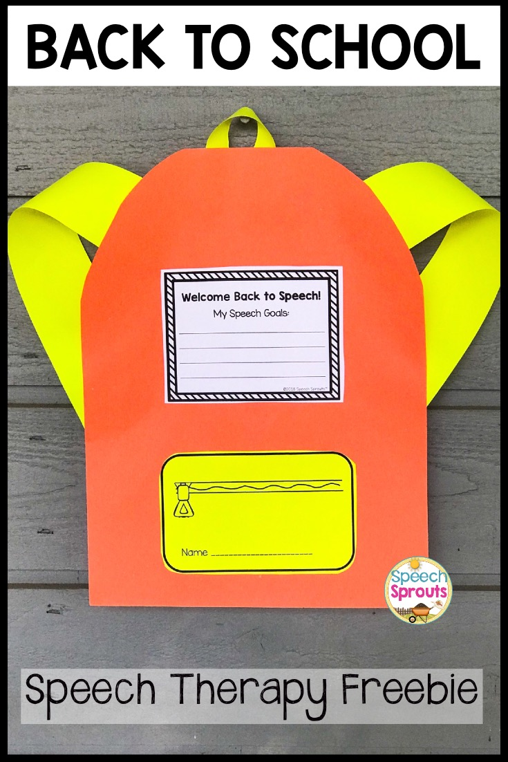 Speech Sprouts: A Back to School Speech Therapy Backpack
