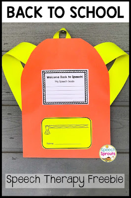 FREE! A colorful backpack paper craft to welcome your speech therapy students back to school and teach them about their speech and language therapy goals. #speechsprouts #backtoschool #speechtherapy #backtoschoolcraft