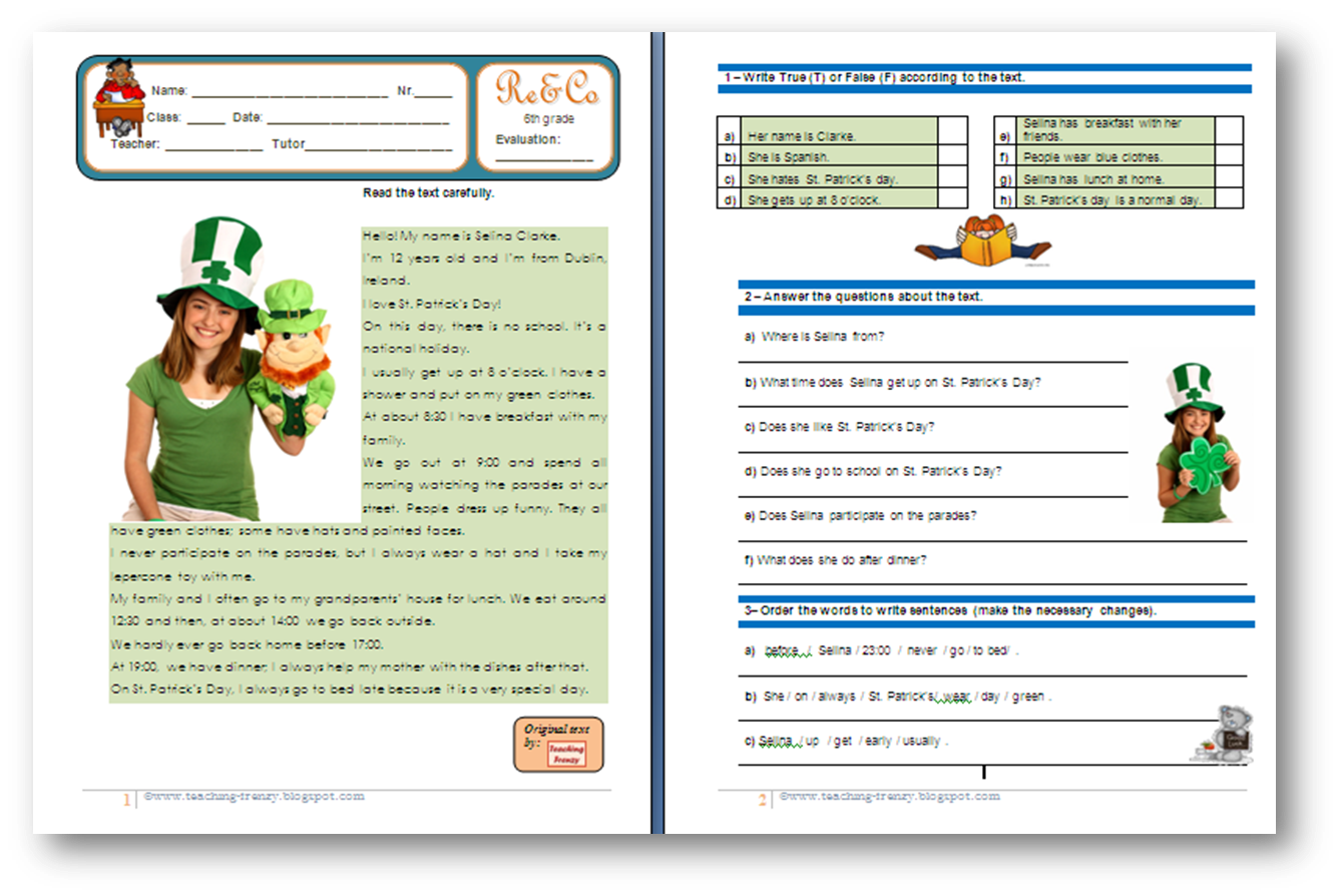 Reading Comprehension Worksheets Past Simple