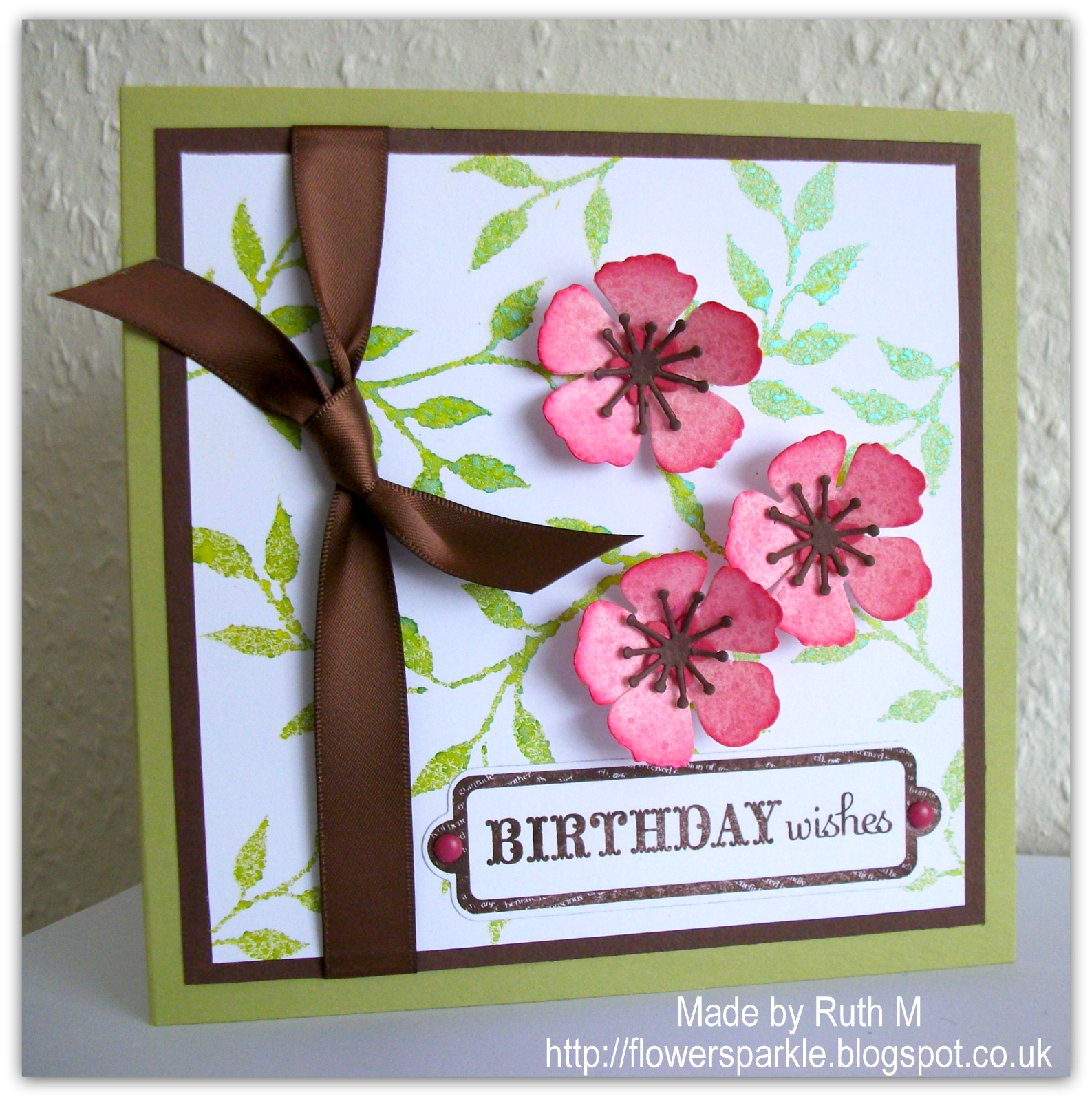 Flower sparkle cherry blossoms birthday wishes card have a flat piece at the back cos the flowers are dimensional i added the sentiment and mounted the panel to a 12 cms square pear pizzazz card base izmirmasajfo