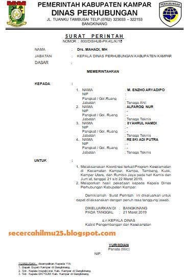 Contoh Surat Perintah Tugas yang Mengetahui Kepala Bidang