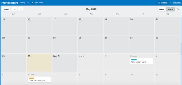 Trello as a calendar