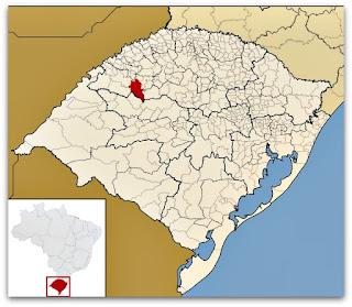 Cidade de São Miguel das Missões, no mapa do Rio Grande do Sul