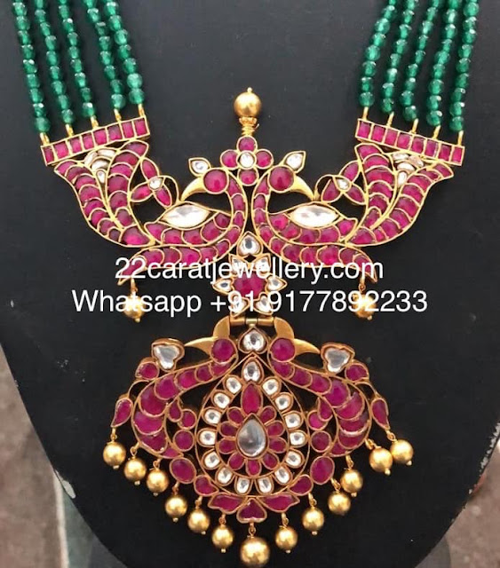 925 Silver Kundan Pendant with Green Beads