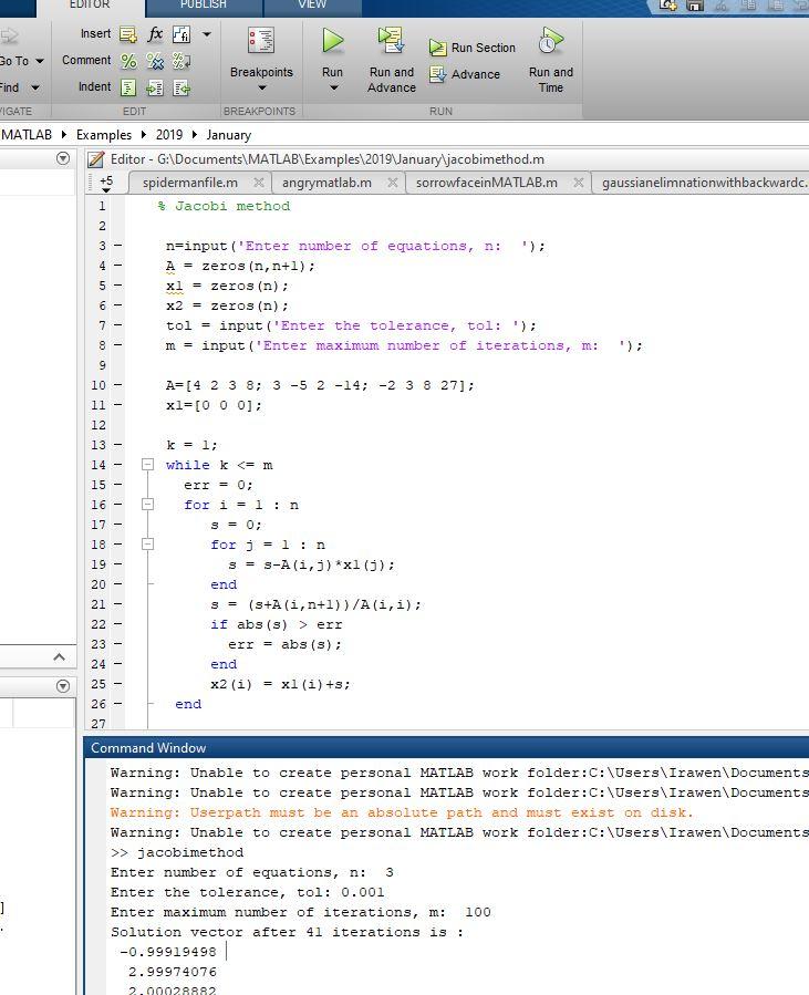 Jacobi method to solve equation using MATLAB(mfile) - MATLAB