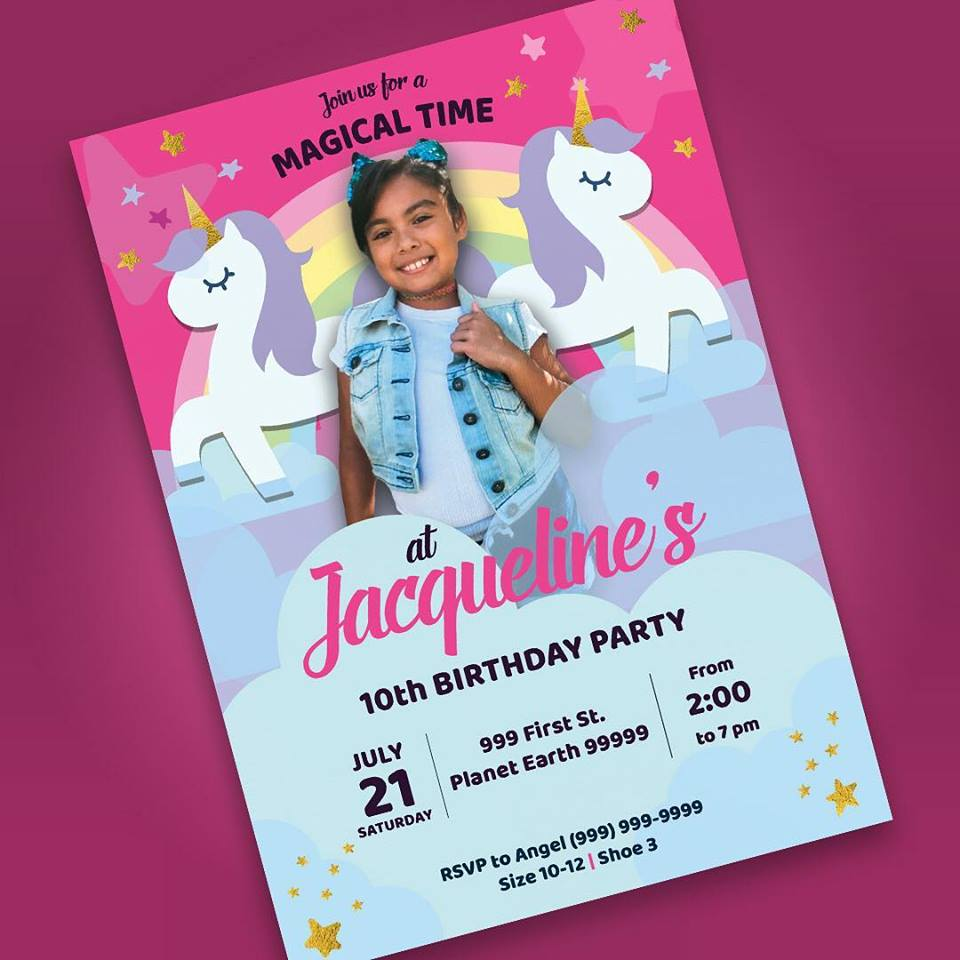 magical unicorn birthday invitation design