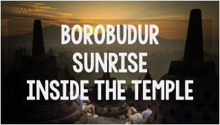 borobudur sunrise inside temple