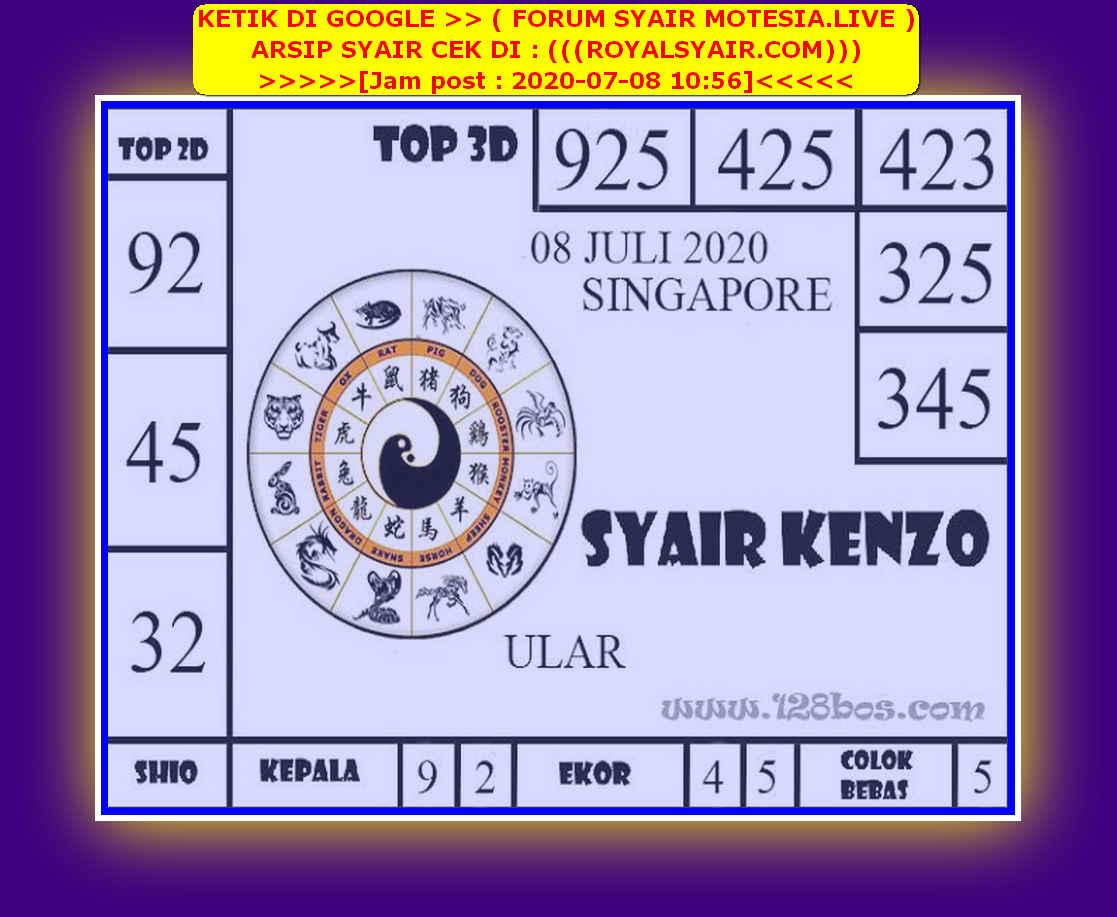 Kode syair Singapore Rabu 8 Juli 2020 157
