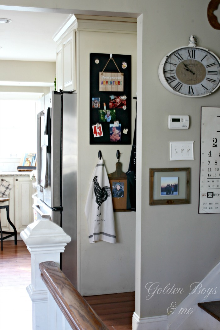 Ideas for staying organized - side of refrigerator - Ikea magnetic board painted with chalkboard paint - www.goldenboysandme.com