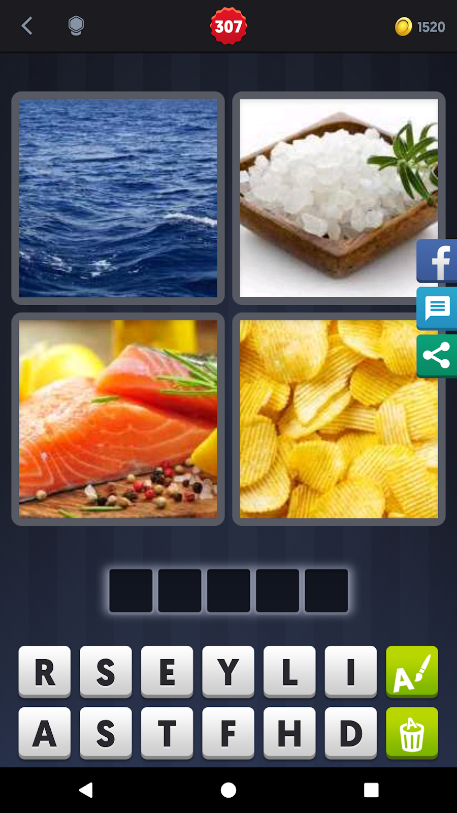 4 Pics 1 Word Answers Solutions Level 307 Salty