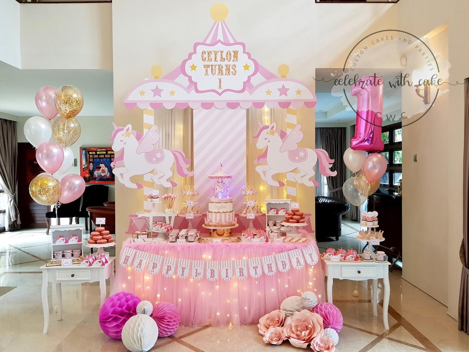 Peachy Celebrate With Cake Flying Unicorn 1St Birthday Dessert Table Funny Birthday Cards Online Overcheapnameinfo