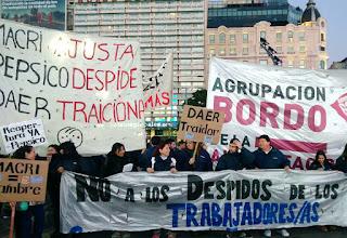 Protesta de los trabajadores de Pepsico en el Centro porteño.