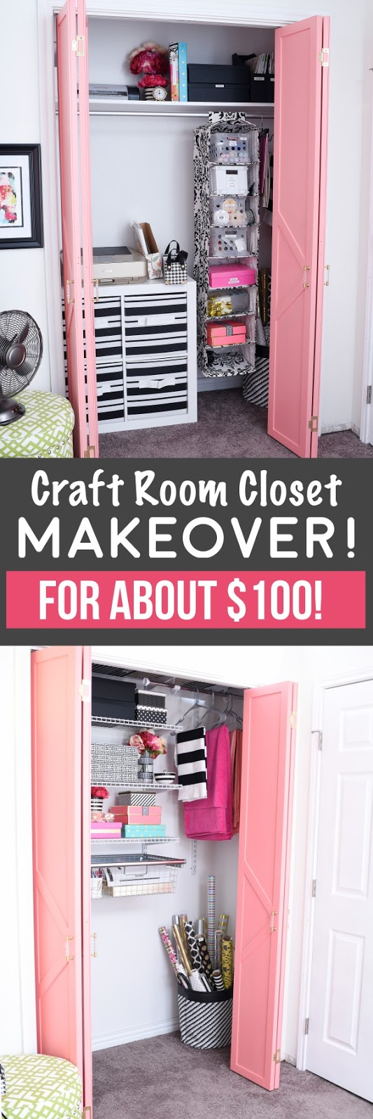 Turn your craft closet into an organized and posh oasis with the use of inexpensive closet systems. Here's a step-by-step tutorial- love how organized it is!
