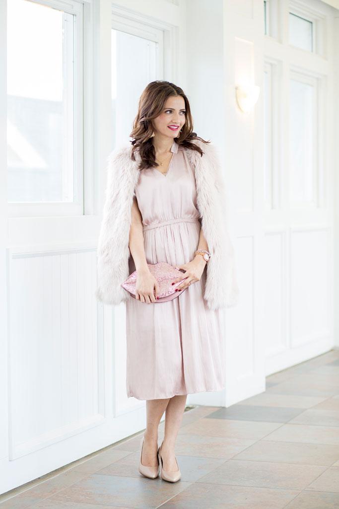 Pale Pink Satin Dress, Faux Fur Vest, Glitter Pink Lips Bag, Naturalizer Nude Heels